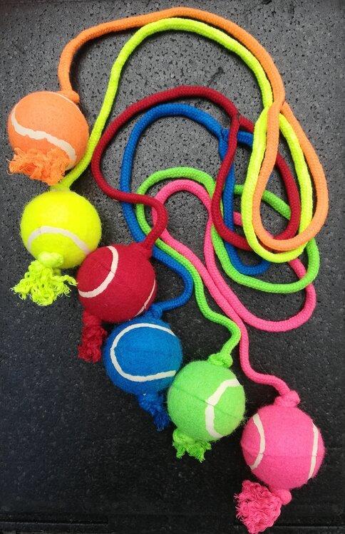 Tennisbal Met Werpkoord, Diverse Kleuren