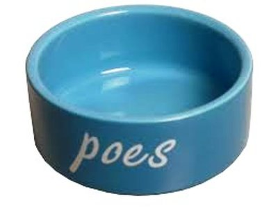Katten eetbak steen blauw 12 cm