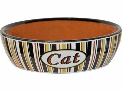 Katten drinkschotel/eetbak gestreept 13 cm