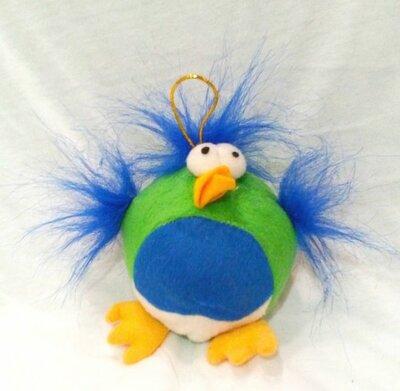 Bal Met Groen Blauwe Stof Vogel